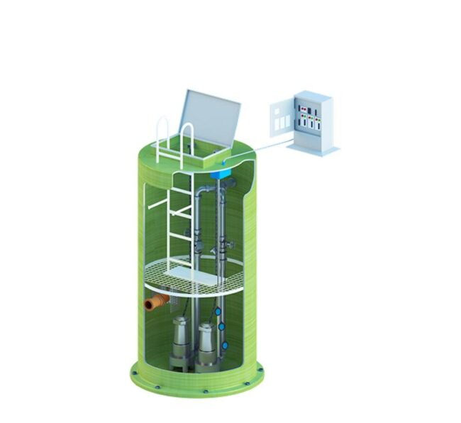 Ливневая насосная станция  Qubo-LNS из стеклопластика, полипропилена